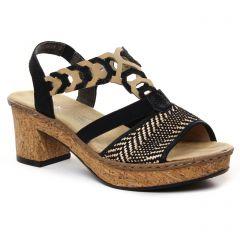 Chaussures femme été 2021 - sandales rieker noir beige