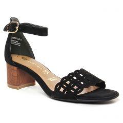 nu-pieds-talon noir bronze: même style de chaussures en ligne pour femmes que les Tamaris