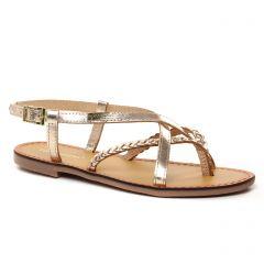 Chaussures femme été 2021 - Sandales Plates les tropéziennes beige doré