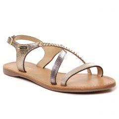 sandales-plates beige doré: même style de chaussures en ligne pour femmes que les Émilie Karston