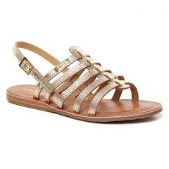 sandales-plates beige doré: même style de chaussures en ligne pour femmes que les Tamaris