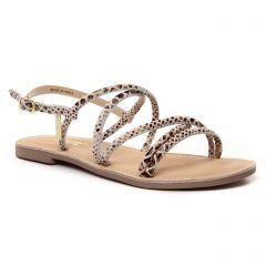 Chaussures femme été 2021 - Sandales Plates les tropéziennes beige serpent