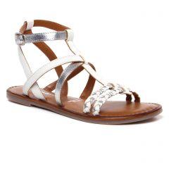 sandales-plates blanc argenr: même style de chaussures en ligne pour femmes que les Émilie Karston