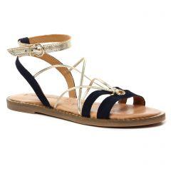 sandales-plates bleu marine doré: même style de chaussures en ligne pour femmes que les Les Tropéziennes