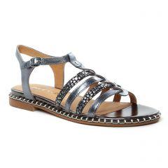 sandales-plates gris acier: même style de chaussures en ligne pour femmes que les Émilie Karston