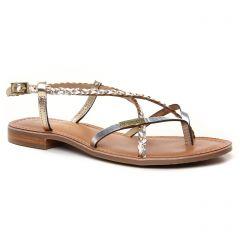 sandales-plates gris argent or: même style de chaussures en ligne pour femmes que les Émilie Karston