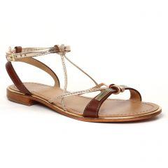 Chaussures femme été 2021 - Sandales Plates les tropéziennes marron doré