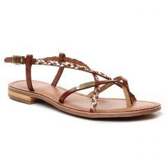 sandales-plates marron doré: même style de chaussures en ligne pour femmes que les Eva Frutos