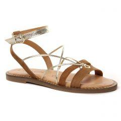 sandales-plates marron doré: même style de chaussures en ligne pour femmes que les Émilie Karston