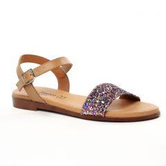 sandales-plates beige multi: même style de chaussures en ligne pour femmes que les Eva Frutos