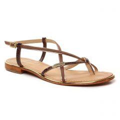 sandales-plates marron or: même style de chaussures en ligne pour femmes que les Tamaris