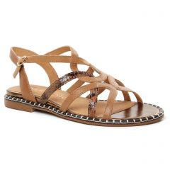 Chaussures femme été 2021 - Sandales Plates Émilie Karston marron serpent