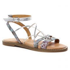 sandales-plates multi argent: même style de chaussures en ligne pour femmes que les Les Tropéziennes