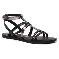 sandales-plates noir bronze: même style de chaussures en ligne pour femmes que les Les Tropéziennes