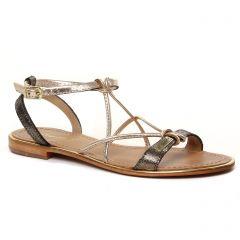 Chaussures femme été 2021 - Sandales Plates les tropéziennes noir doré
