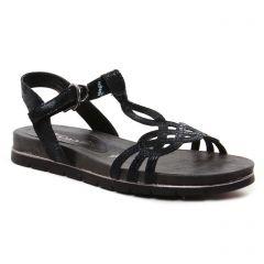 sandales-plates noir: même style de chaussures en ligne pour femmes que les Les Tropéziennes