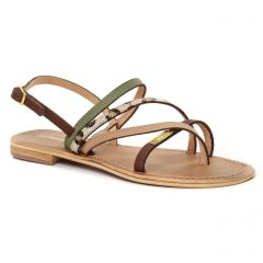Chaussures femme été 2021 - Sandales Plates les tropéziennes vert multi