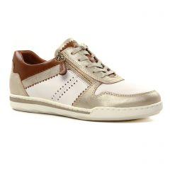 Chaussures femme été 2021 - tennis tamaris blanc marron