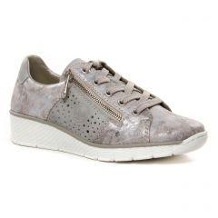 Chaussures femme été 2021 - tennis rieker gris argent