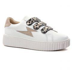 Chaussures femme été 2021 - Tennis plateforme Vanessa Wu blanc beige