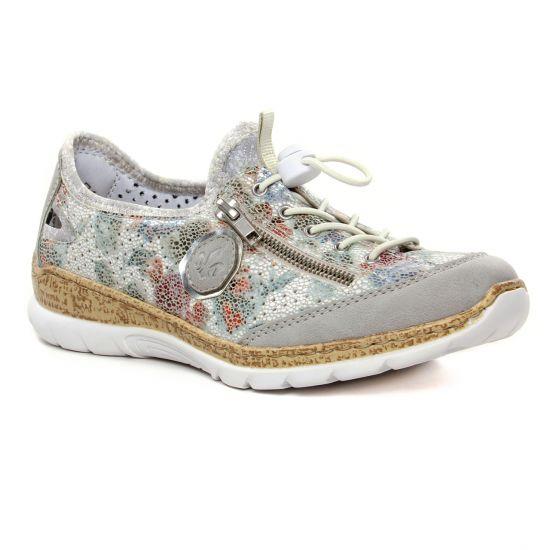 Tennis Et Baskets Mode Rieker N42V1-80 Cement Weiss, vue principale de la chaussure femme