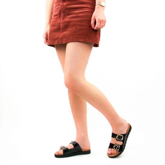 Chaussures femme été 2021 - mules Scarlatine noir vernis