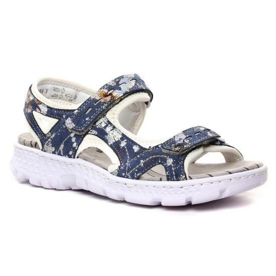 Nu Pieds Et Sandales Rieker 67866-91 Jeans Multi, vue principale de la chaussure femme