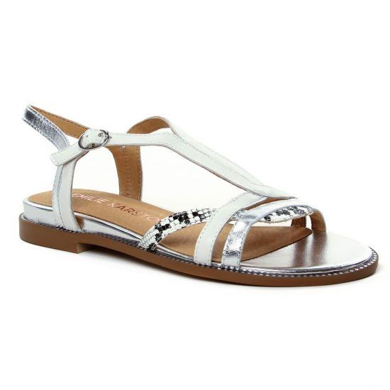 Nu Pieds Et Sandales Emilie Karston Sobio Blanc, vue principale de la chaussure femme