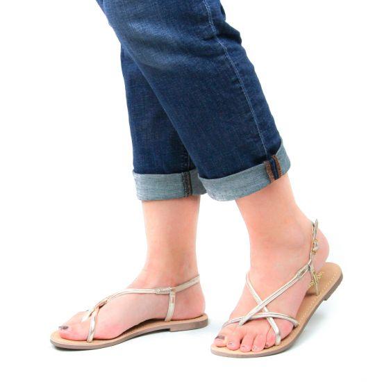 Chaussures femme été 2021 - Sandales Plates les tropéziennes gris doré
