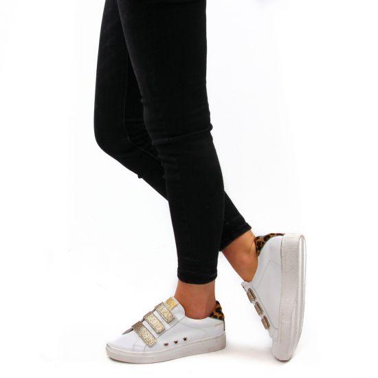 Chaussures femme été 2021 - tennis Semerdjian blanc leopard
