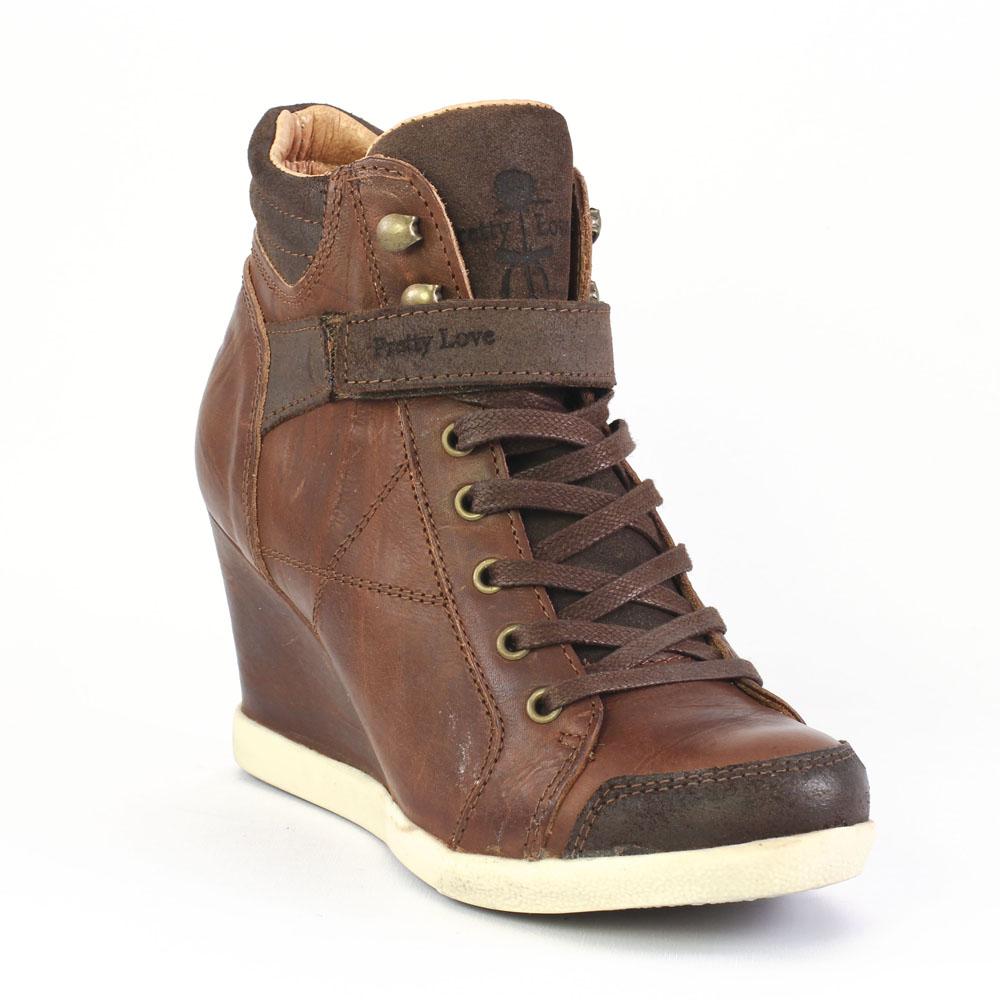 chaussures de sport 4891d a3b34 Scarlatine J3217 Tdm | basket compensees marron foncé ...