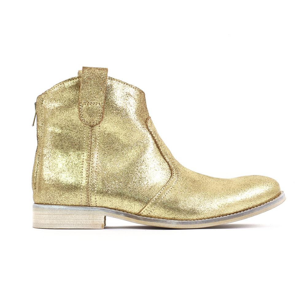 Boots Cuir Doré Or 7ReYNv