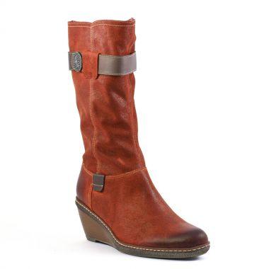 Bottes Fugitive Muka orange café, vue principale de la chaussure femme