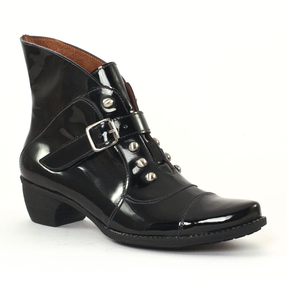 scarlatine 3099 vernis noir boots noir automne hiver. Black Bedroom Furniture Sets. Home Design Ideas