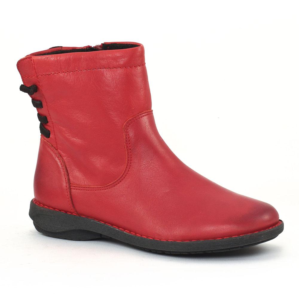 scarlatine co77319 rouge noir boots rouge automne hiver chez trois par 3. Black Bedroom Furniture Sets. Home Design Ideas