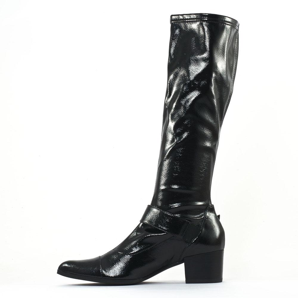 bottes stretch noir vernis mode femme automne hiver vue 3