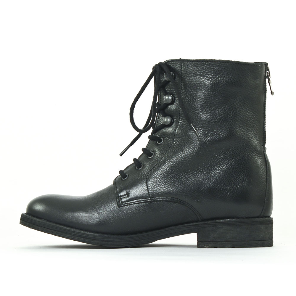 Boots cuir noir à lacet Noir fYOd1w16b2