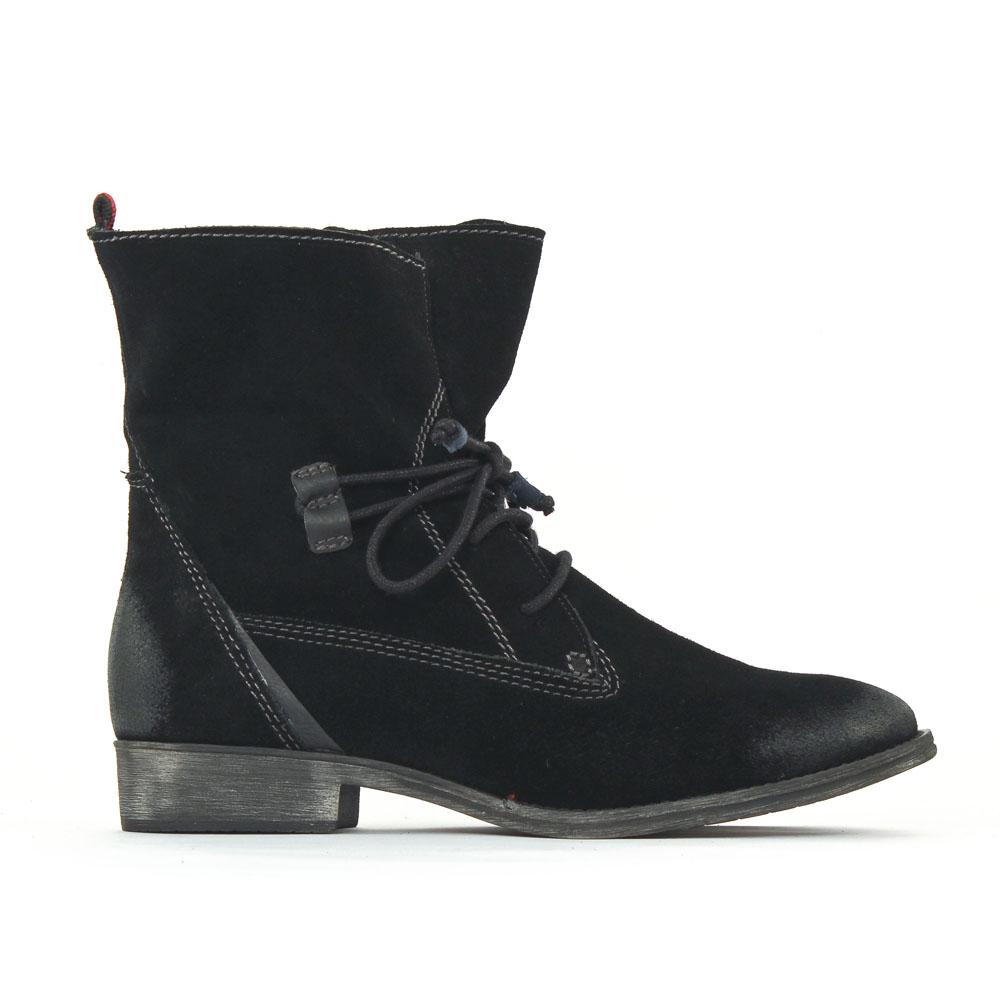 tamaris 25146 black | bottine à lacets noir automne hiver chez