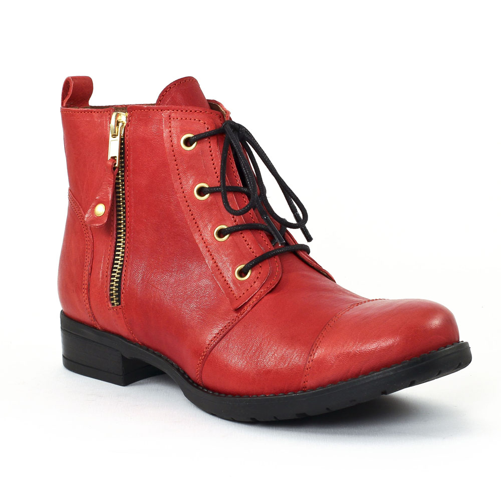 Scarlatine 3529 Rouge | bottine à lacets rouge automne hiver