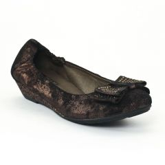 ballerines-talons-compenses marron doré: même style de chaussures en ligne pour femmes que les Tamaris