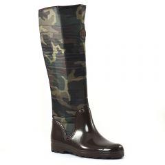 bottes-de-pluie marron kaki: même style de chaussures en ligne pour femmes que les Scarlatine
