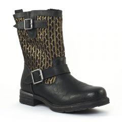 Chaussures femme hiver 2014 - mi-bottes tamaris noir doré