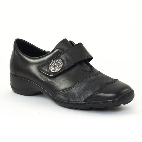 Mocassins Rieker 58398 Schwarz, vue principale de la chaussure femme