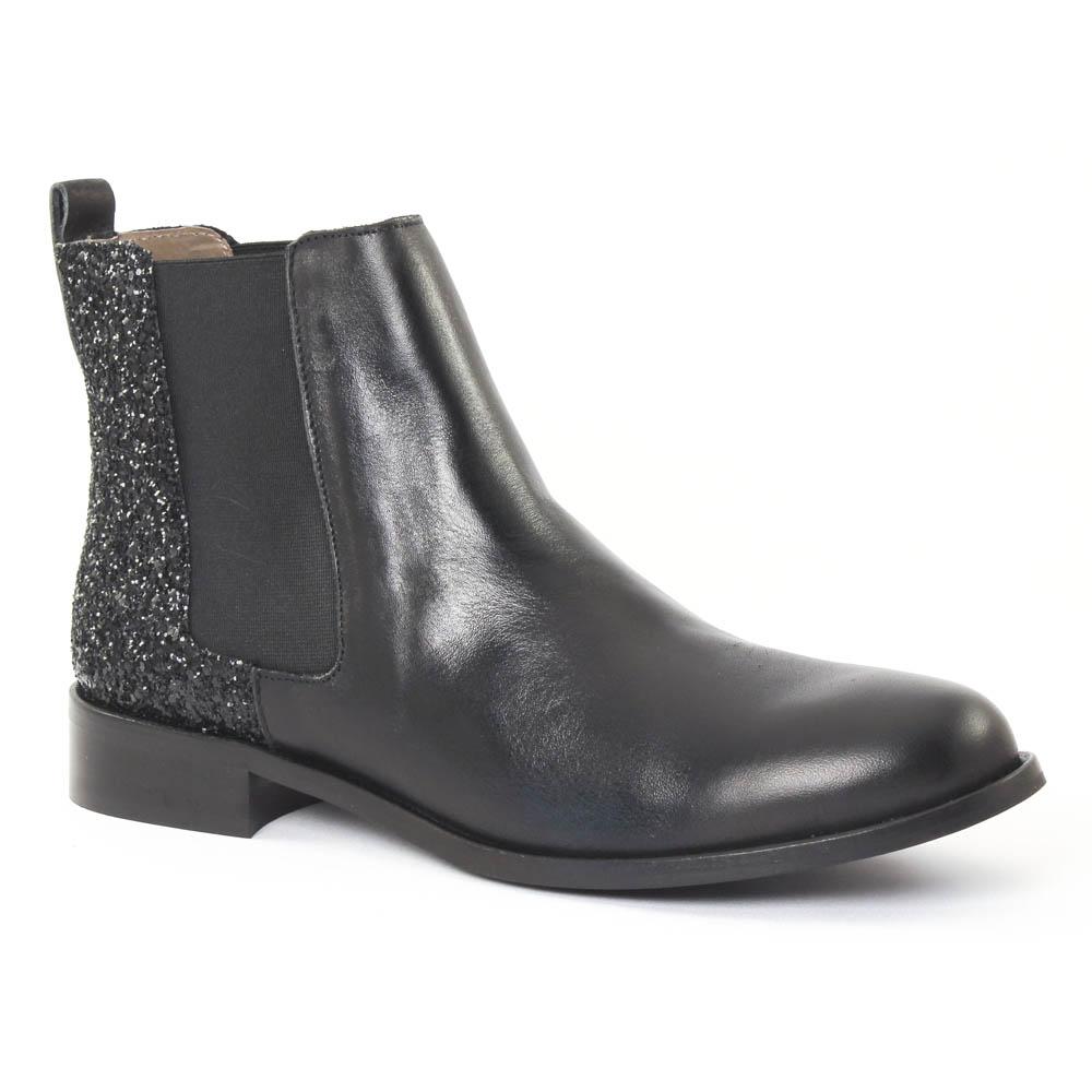 scarlatine 2662 glitter noir | boot élastiquées noir paillettes