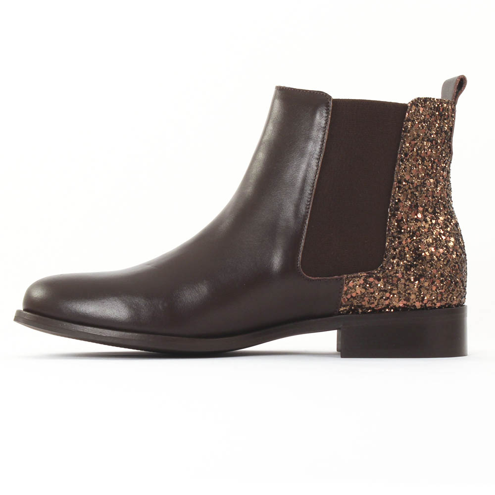 scarlatine 2662 glitter marron boot lastiqu es paillettes marron automne hiver chez trois par 3. Black Bedroom Furniture Sets. Home Design Ideas
