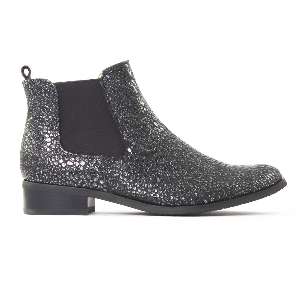 11cc0685008b49 Fugitive Rola Galucha Noir | boot élastiquées python argent noir ...
