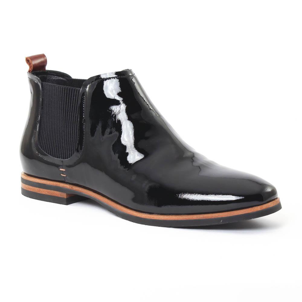 boots élastiquées vernis noir mode femme automne hiver vue 1