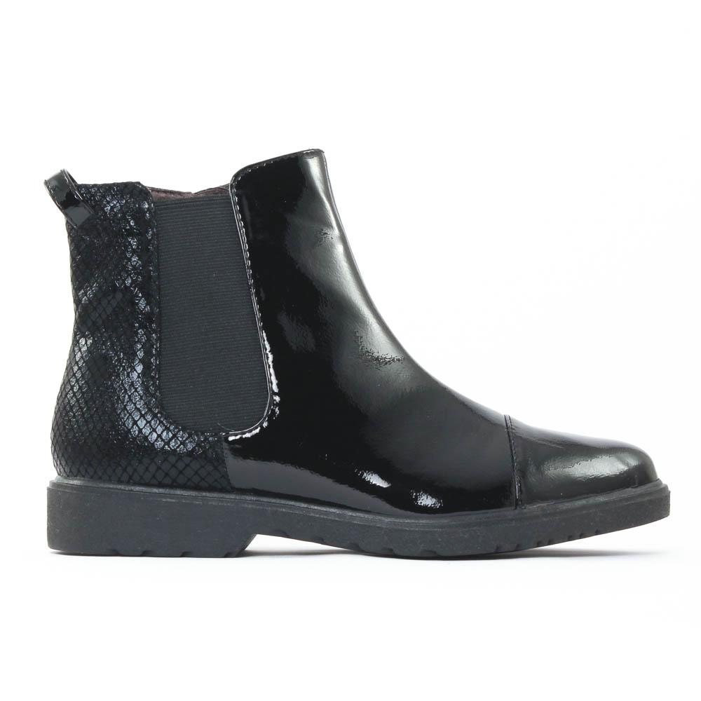 tamaris 25057 black boot lastiqu es vernis noir automne. Black Bedroom Furniture Sets. Home Design Ideas