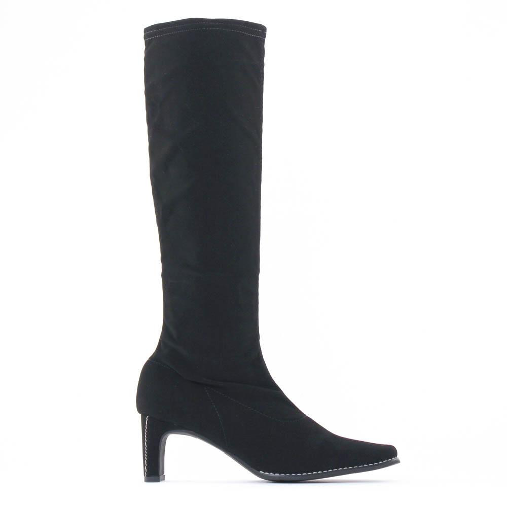 bottes stretch nubuck noir mode femme automne hiver vue 2