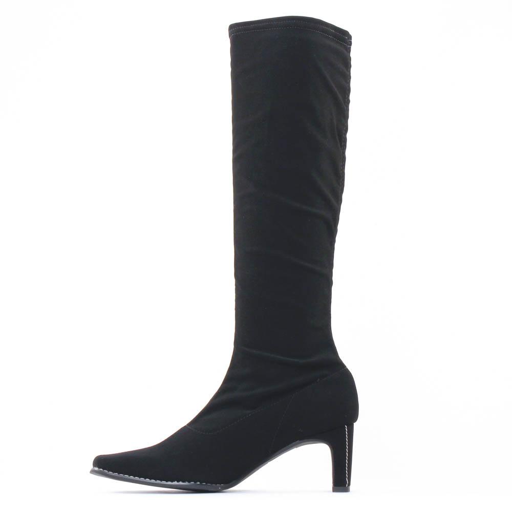 bottes stretch nubuck noir mode femme automne hiver vue 3